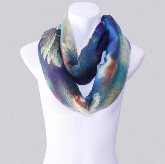 2014-Fall/Winter-New Style Scarf-Women's Scarf-Vintage Scarf-Bohemia Scarf-Feather Scarf-Floral Unique-Cotton Scarf-Blue