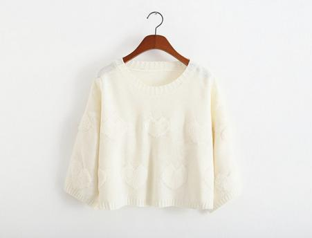 2014 New Style Women/Girl Back Open Fork Loose Pullover Top Kint Sweater With Sweet Heart-Color White