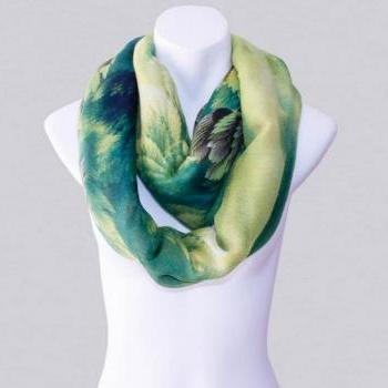 2014-Fall/Winter-New Style Scarf-Women's Scarf-Vintage Scarf-Bohemia Scarf-Feather Scarf-Floral Unique-Cotton Scarf-Green