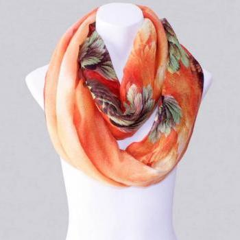 2014-Fall/Winter-New Style Scarf-Women's Scarf-Vintage Scarf-Bohemia Scarf-Feather Scarf-Floral Unique-Cotton Scarf-Orange
