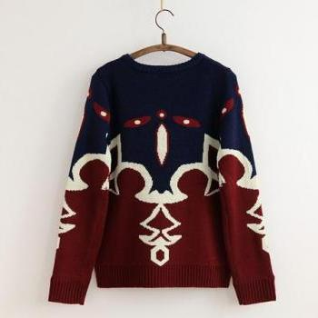 2014 New Style Fall/Winter Boho Geometric Pattern Loose Kintting Pullover with Long Sleeve-Color Burgundy