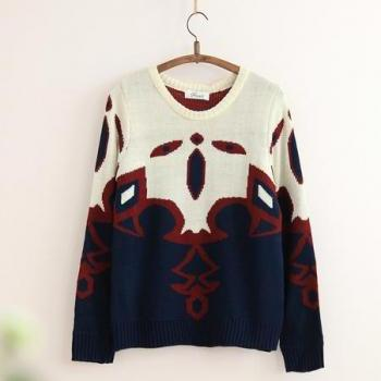 2014 New Style Fall/Winter Boho Geometric Pattern Loose Kintting Pullover with Long Sleeve-Color Blue
