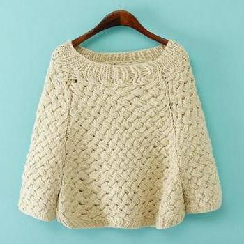 2014 New Style Women/Girl Pullover Top Kint Sweatet with Handmade Hook Flower-Simple But Elegant Style