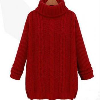 2014 New Style Fall/Winter High Collar Kintting Twist Sweater With Long Sleeve-Open Fork Hem